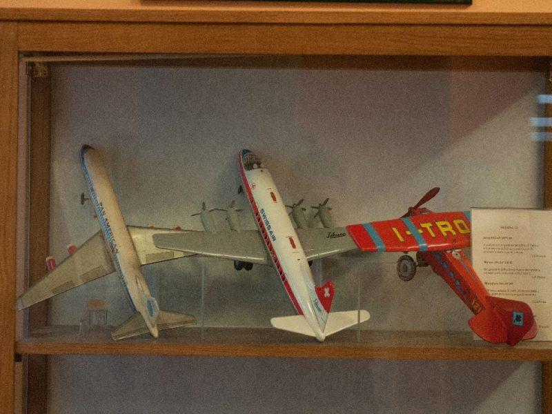 vetrina con aereomodelli statici